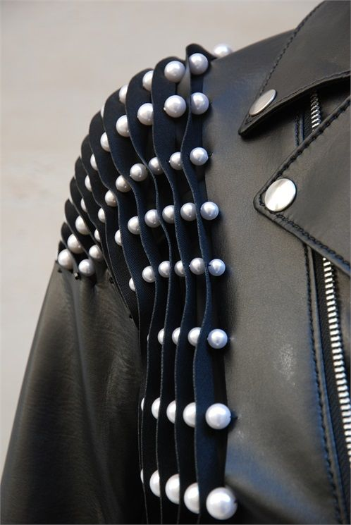 Leather jacket with trapped pearls for contrast & texture; 3D embellishment; sewing; fashion detail // Noir Kei Ninomiya