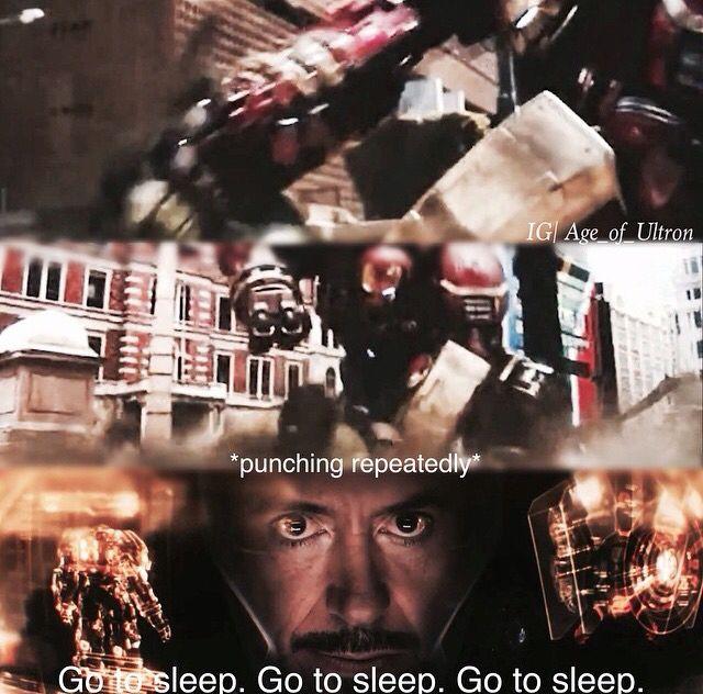 """Go to sleep"" - Iron Mak ((Hahaha poor Bruce)) #Avengers: #AgeOfUltron"