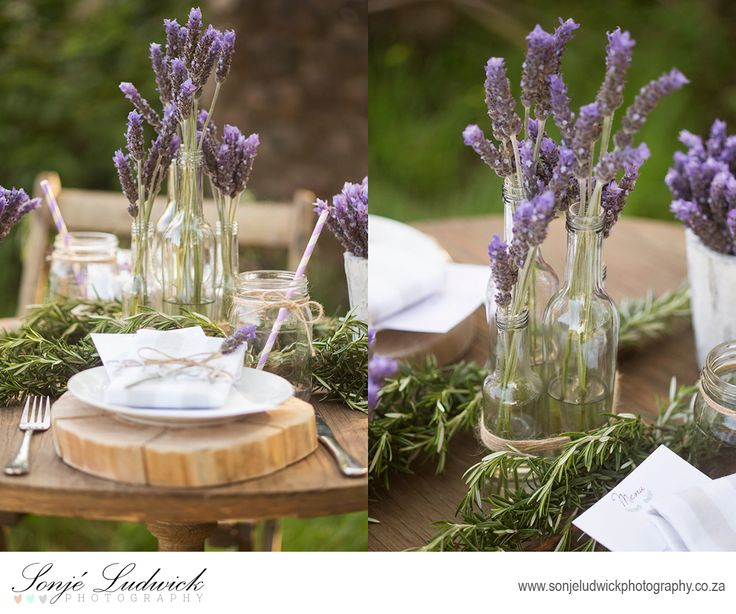 Rustice Greek garden wedding decor.  Lavender flower arrangements.