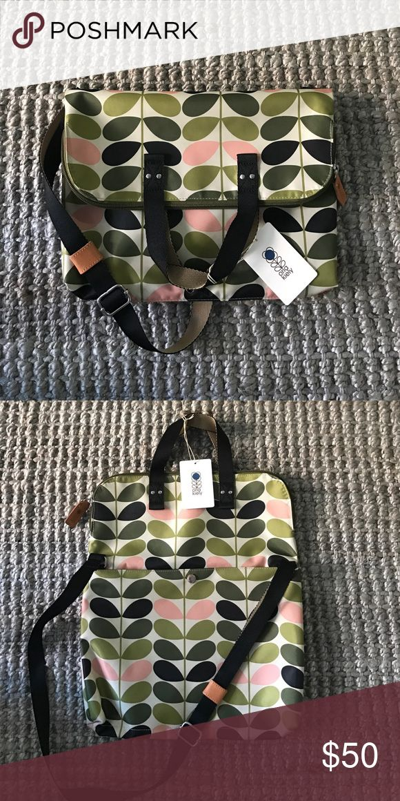 "Orla Kiely Foliage Foldover Tote Printed tote bag with zip closure. TOte folds over to be worn as a cross-body style. Large pocket on back of bag.  Dimensions 14"" x 10.5"" folded. 14"" x 17"" flat. Orla Keily Bags Shoulder Bags"