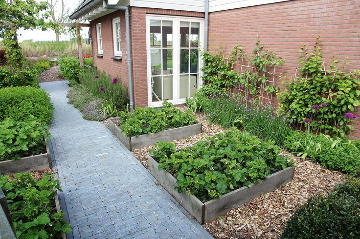 Moestuin met aardbeien kruiden en leifruit tegen de muur. Foto: Boekel tuinen