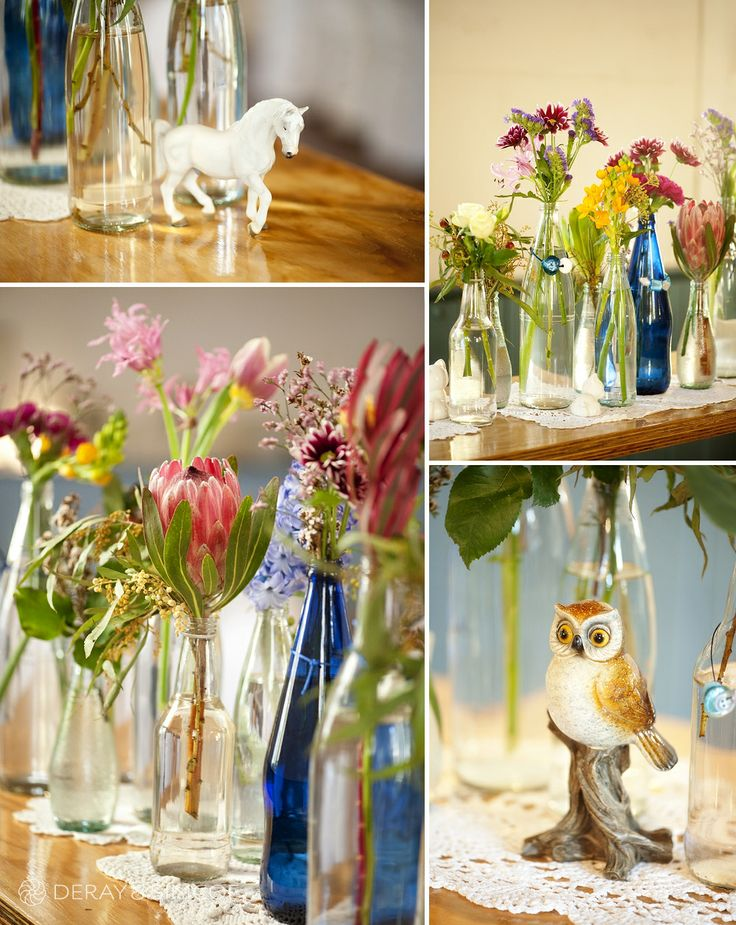 DIY quirky styling of flowers in jars and ornate ceramic animals. Wedding reception styling, ideas and inspiration.  Reception Venue: St Paul's, Beaconsfield  Photography by DeRay & Simcoe