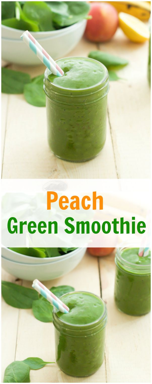 Peach Green Smoothie - This creamy peach green smoothie is a great start way to kick start your day because it is loaded with minerals, vitamins and fiber. | primaverakitchen.com