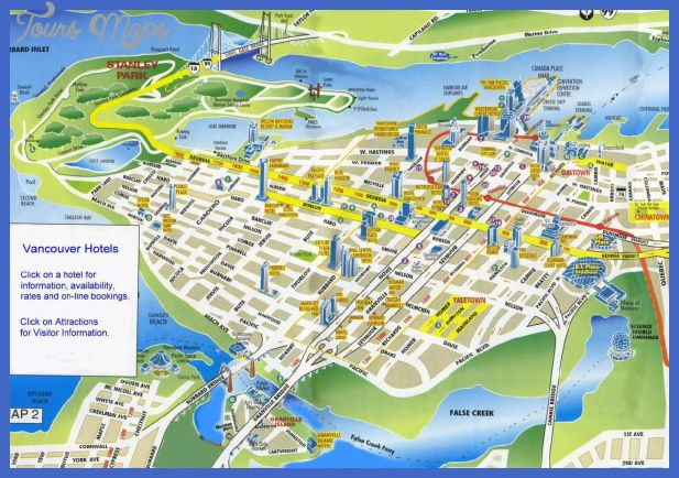 awesome Vancouver Map Tourist Attractions