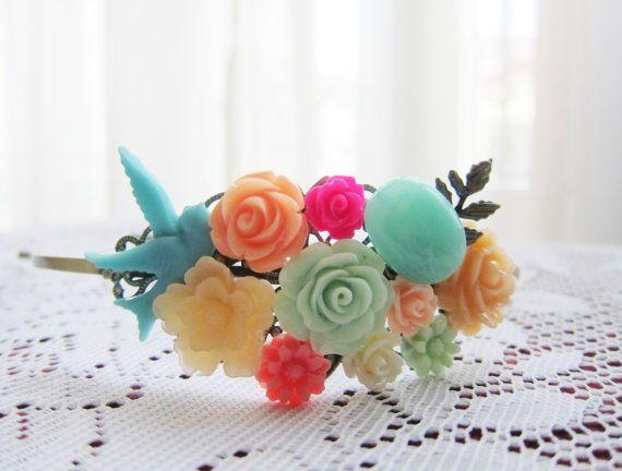 Wedding Headband Wedding Hairband Turquoise Peach Mint Hot Pink Fuchsia Aqua Green Teal Antique Brass Bridal Hairpiece Bridesmaid Head Piece