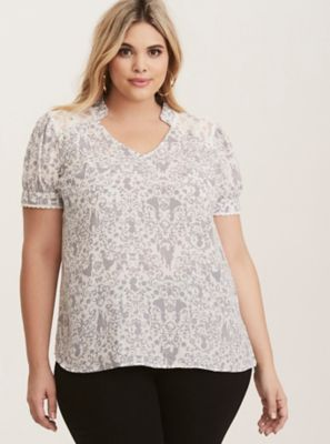 Disney Snow White Grey & White Damask Print Top in Purple