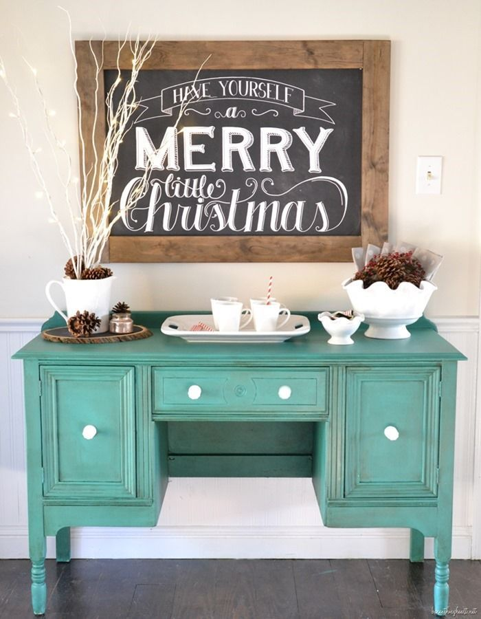 love the chalkboard, the pine cones, the sticks, the color on the buffet...all of it!! Christmas Home Tour