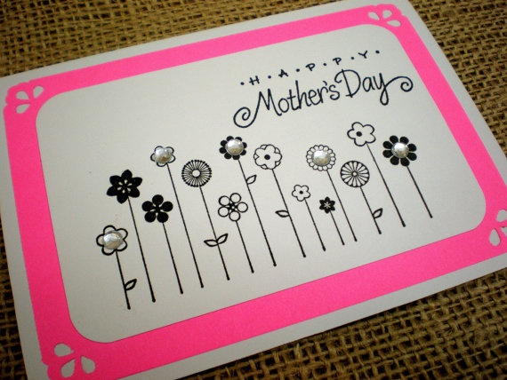 Handmade Mothers Day Card - Cute Hot Pink and White Greeting Card for Mom with Bling - includes envelope - FREE shipping to US. $4.50, via Etsy.