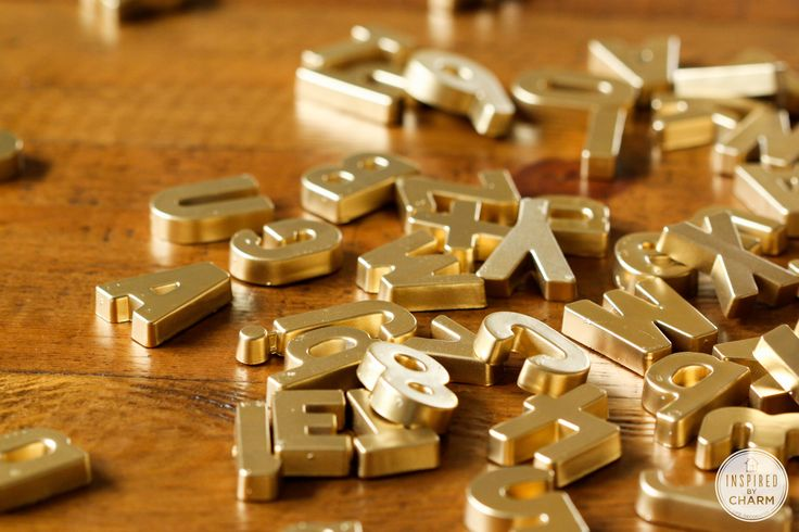 Oh the things you can do with spray paint! https://inspiredbycharm.com/2013/08/diy-gold-magnetic-letters.html?utm_content=buffer360e4&utm_medium=social&utm_source=pinterest.com&utm_campaign=buffer #todotuesday #diywedding #weddingonthecheap #weddingidea