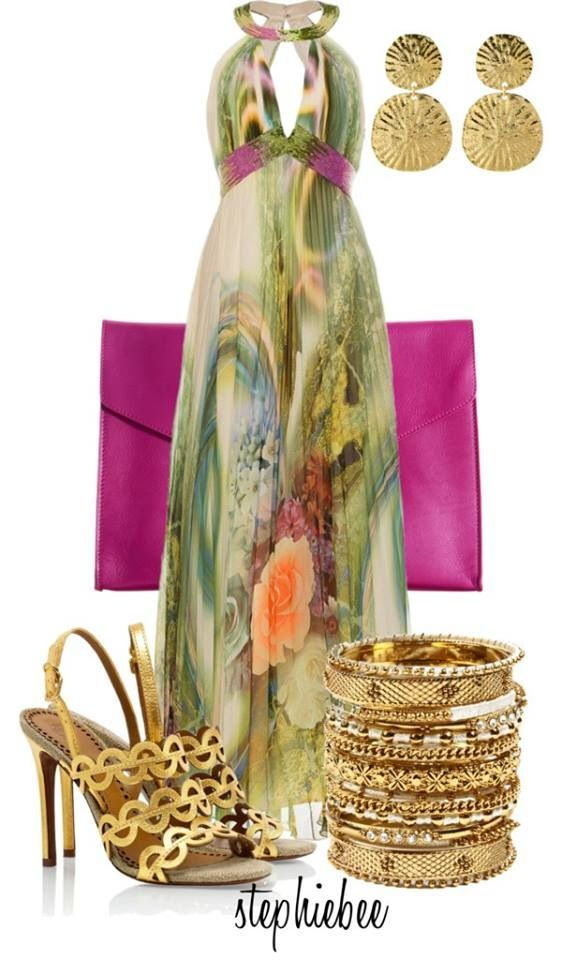 Stylish Eve long multi colored green peach turquoise kind of like a peacock color sundress maxi with gold open toe sandals/heels neon clutch... nice dress for summer or spring wedding or date
