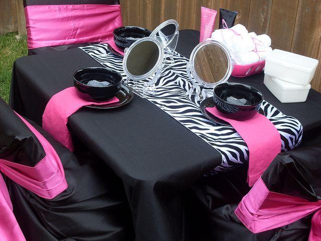Girls Teens Tweens Zebra Spa Party Glamour Avenue Parties Houston Texas Courtney Price Manicure Pedicure Mobile Make Up Glitz