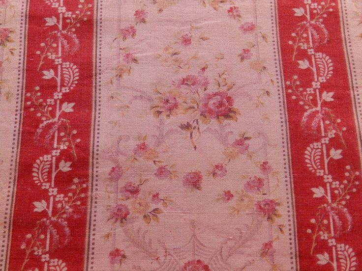 Vintage French fabric with roses by RagRescue on Etsy