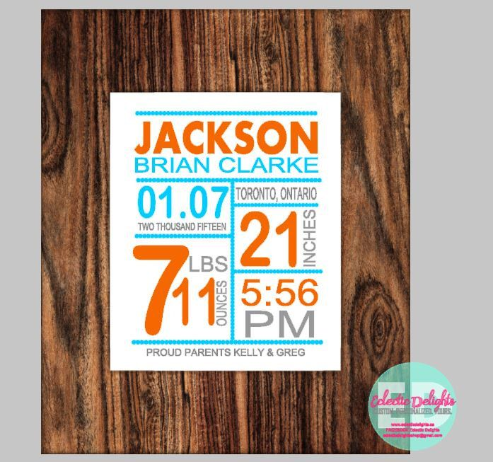 A personal favorite from my Etsy shop https://www.etsy.com/ca/listing/472355397/baby-birth-information-wood-signs