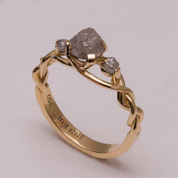 Anello di fidanzamento - unico anello di fidanzamento, anello di diamante grezzo, in treccia celtica anello di fidanzamento, anello di pietra, anello di fidanzamento diamante grezzo, 7 tre