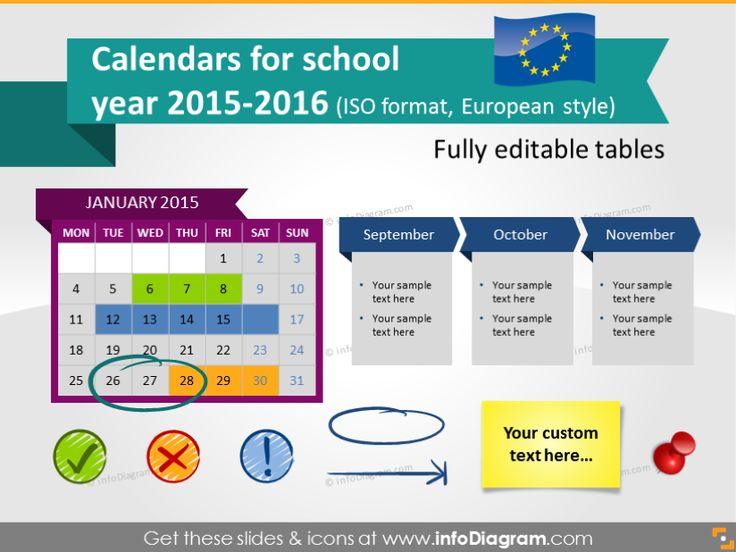 School Calendars 2015 2016 graphics (EU ISO dates, PPT tables and icons)