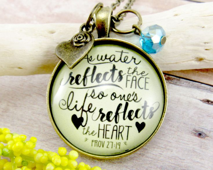 My newest creation makes a great #giftidea Water Necklace Bible Verse Jewelry Prov 27:19 Life Reflects the Heart Christian Gifts for Women Scripture Ocean Pendant (18.00 USD) from GutsyGoodness #GutsyGoodness