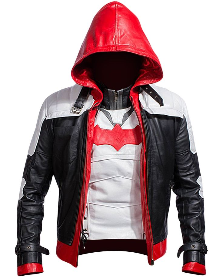Bat Logo Knight Red Hood Jacket with Vest Arkham Era The Hooded Bat Knight Man Jacket gets a 2 in 1 Style allowing you to carry it both as a Vest and a complete jacket. It is made up of Synthetic leat