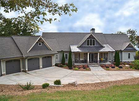 Rustic House Plan 29876RL with 2 beds on main and 3 more on the walkout basement level. 3 car garage.