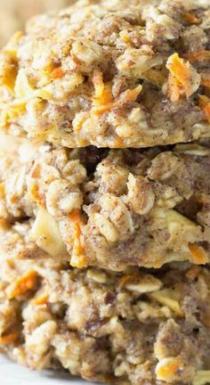 Carrot Cake Breakfast Cookies ~ Thick, soft, and full of fresh carrot and apple... A healthy make ahead breakfast or snack - They're whole grain and refined sugar free, and keep well in the freezer.