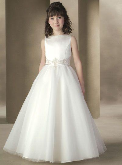 Noble A-Line Scoop White Satin Tulle Flower Girl Dress:flyingbrides.com