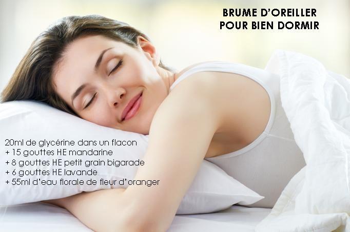 Brume d'oreiller pour bien dormir - huiles essentielles