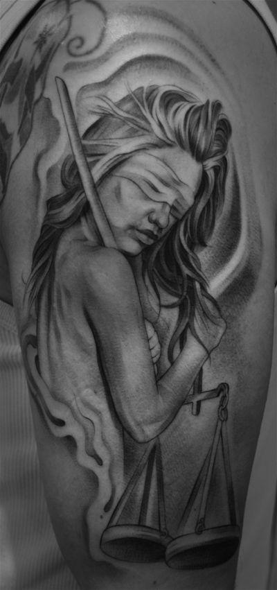 Black n White Justice Tattoo Design