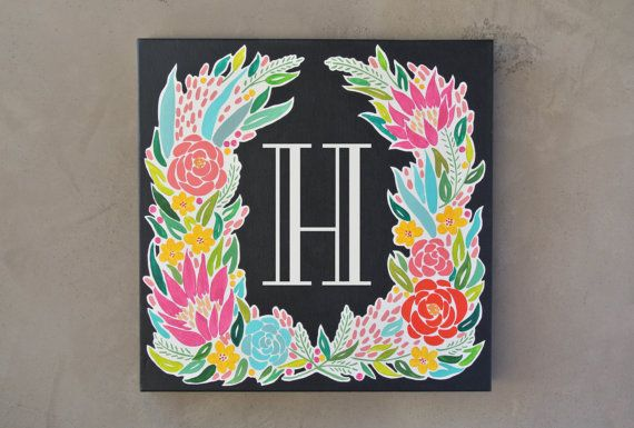 MONOGRAM CANVAS PAINTING - FLORA    An original monogram canvas painting, personalized with your initial of choice. The Flora monogram features a