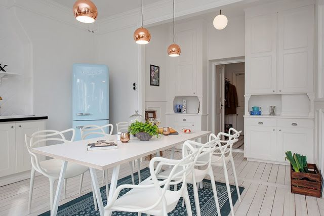 chairs, lamps, floor, cupboards. actually everything... my scandinavian home: White, blue and a touch of brass in Gothenburg