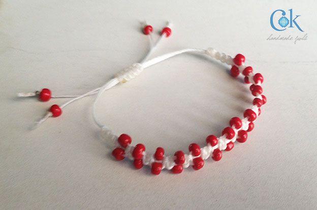 Μάρτηδες - Red white bracelet beads (120c)