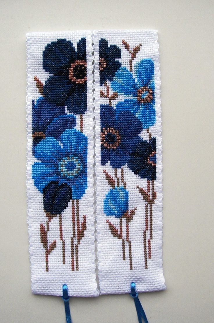 Vervaco cross stitch bookmarks. Blue flowers.