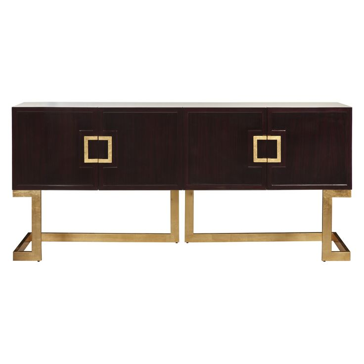 Charming Worlds Away Braxton Media Console In Rosewood/Gold