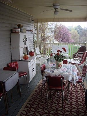 """Dining porch"" - I like it. My family tends to eat outside all summer, when it's nice - this could extend that, since you could leave things out, and use it even in the rain."