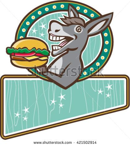 Illustration of a donkey, ass, mule or horse mascot serving up a hamburger burger sandwich viewed from the side set inside oval shape and rectangle with woodgrain done in 1950s retro diner style  - stock vector #hamburger #retro #illustration