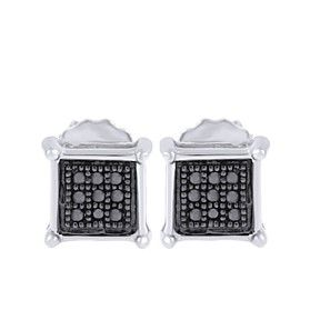 1/20 Ct Black Lab Diamond 14K White Gold Over Square Stud Earrings $999 by JewelryHub on Opensky