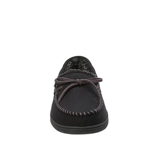 Dearfoams Mens Moccasin Slipper with Whipstitch Trim - Black