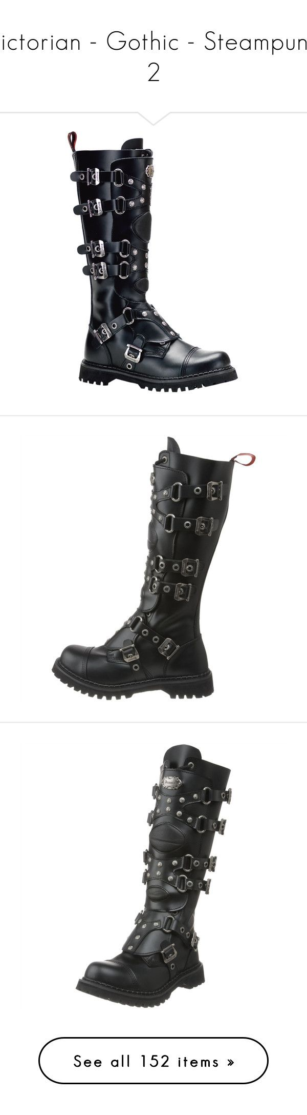 """""""Victorian - Gothic - Steampunk 2"""" by selene-cinzia ❤ liked on Polyvore featuring shoes, boots, botas, demonia boots, black leather knee high boots, black boots, black goth boots, leather knee high boots, black leather boots and black gothic boots"""