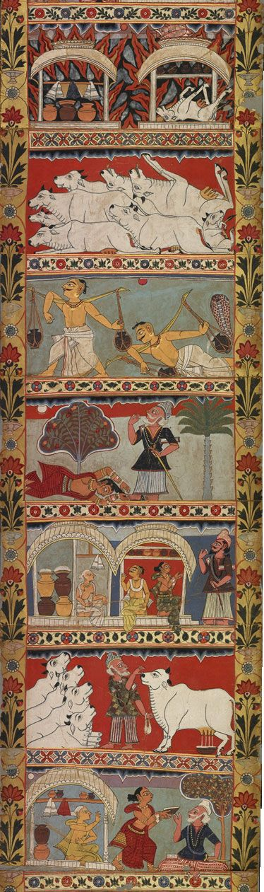 Scenes of the 'Legends of Gazi Scroll',  segment of the 29 ft long painted scroll which tells the story of the Muslim saints who are said to have brought Islam to Bengali India.  Murshidabad District Bengal, India ca.1800, British Museum