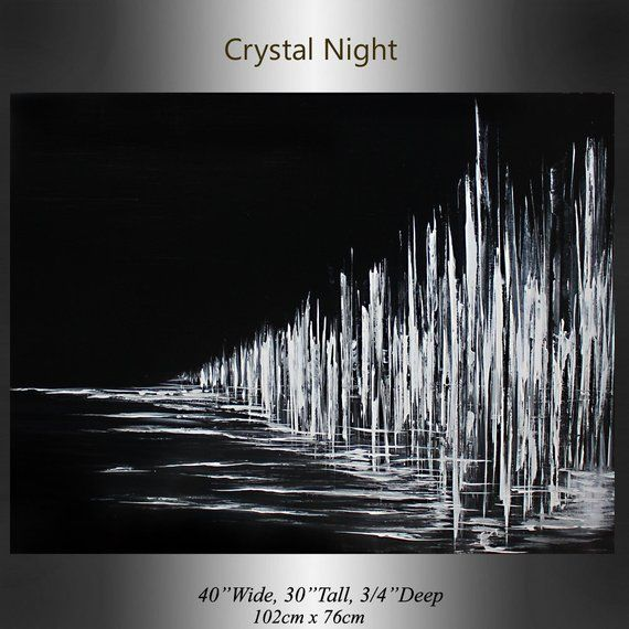 Minimalist Black White Art Crystal Midnight Night Painting, Modern Artwork Acrylic Landscape artwork by Maitreyii