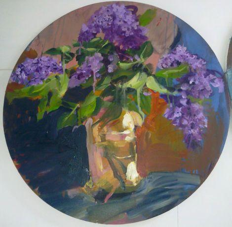 "Geraldine Swayne, Unknown (Private Collection oil on canvas - 24""diameter - 2010)"