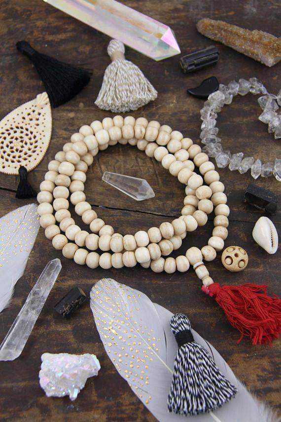Cream Mala Rondelle Bone Beads : 10x8mm / 108 beads, Indian Yoga Mala Beads, Natural Jewelry Making Supply, Large Hole Beads for Bracelets