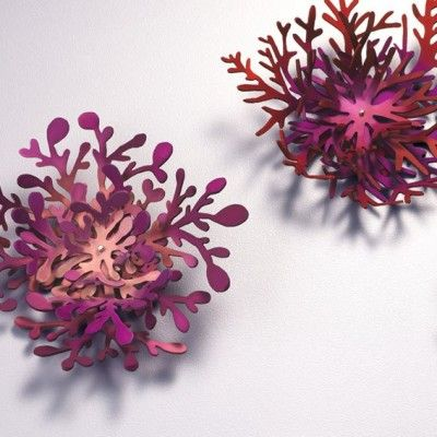 Vividly colored anodised aluminum jewelry by MEGHAN O'ROURKE-AU  Coral Clusters