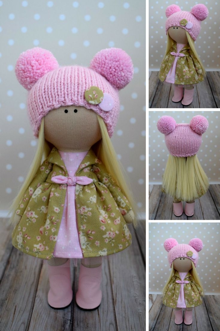 Baby Pink Doll Tilda Fabric Doll Winter Soft Doll Handmade Textile Doll Rag Art Doll Nursery Christmas Doll Kids Present Doll by Olga G  This is handmade cloth doll created by Master Olga G (Vinnitsa, Ukraine).  Doll is READY TO SHIP. Doll can be a great present for your children, family, colleages or friends.  Style of doll easily helps to use such doll as home decoration and interior design.