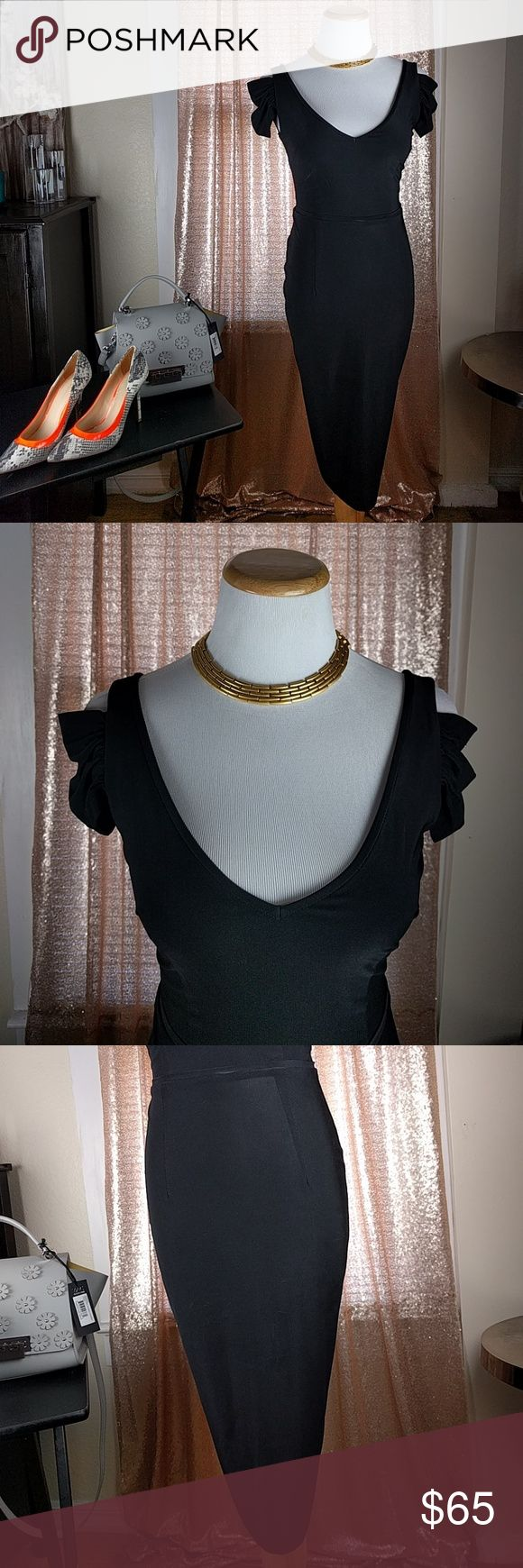 """Little Black Dress Off the Shoulder Sleeves NWT Leona Edmiston Little Black Dress Off the Shoulder Sleeves SZ2 $298 (E01) •Fitted  •Off the shoulder sleeve •Ruching on back •95% polyester, 5% spandex •Tag says SZ 2 but it appears to me more like XXS - XS •B: 13.25"""" (underarm to underarm for size 2) •L: 38"""" (center shoulder to hem for size 2) Measurements are an approximation – appears smaller then a 2 so I am listing as an XS Purse and shoes are also for sale Leona Edminston Dresses"""