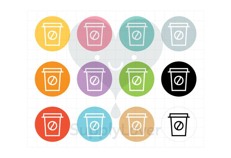 COFFEE Clip-Art Commercial Use, Tea, Coffee, Drink, Latte, Paper Cup, Round, Circle, Symbol, Icon, Beverage, Take-Away, 12 Colors - B0074