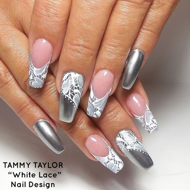 ♥ White Lace Nail Design