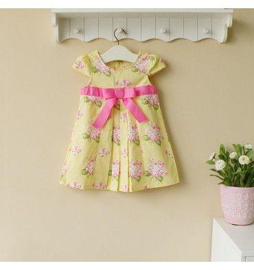 Mom and Bab Woven Dress - Yellow Flowers - sadinashop.com  Dress atau gaun cantik untuk bayi dan anak perempuan.