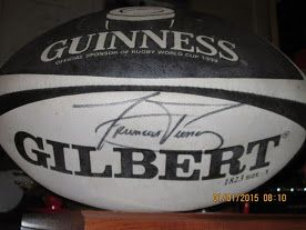 Photo - Francois Pienaar signed rugby ball