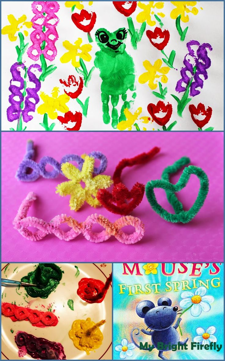 Spring Flowers and Handprint Frogs Painting and Stamping for Kids. DIY Chenille Stem Stamps Spring Flowers. Creative Spring Painting for Toddlers and Preschoolers. Mouse's First Spring.