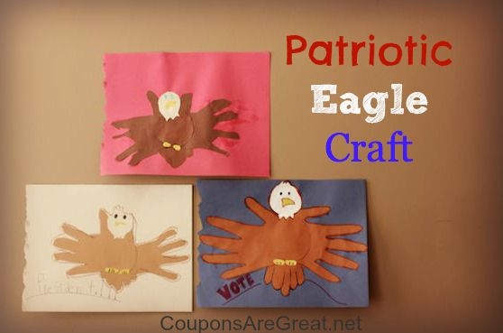 Patriotic eagle craft with handprints great for memorial for Crafts for labor day