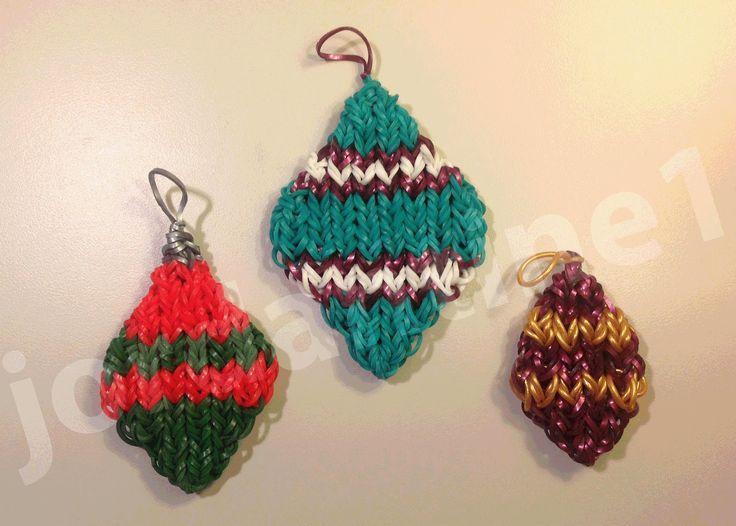 How To Make A Rainbow Loom Diamond Shaped Christmas Ornament Charm